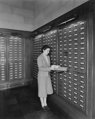 Card catalog in Central Search Room, July 31, 1942.